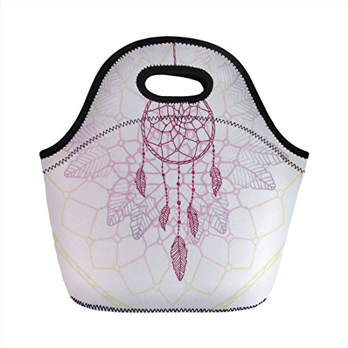 Neoprene Lunch Bag,Hippie,Ethnic Style Dream Catcher Concept Artwork Indian Spiritual Vintage,Hot Pink Lilac Light Yellow,for Kids Adult Thermal Insulated Tote Bags ()