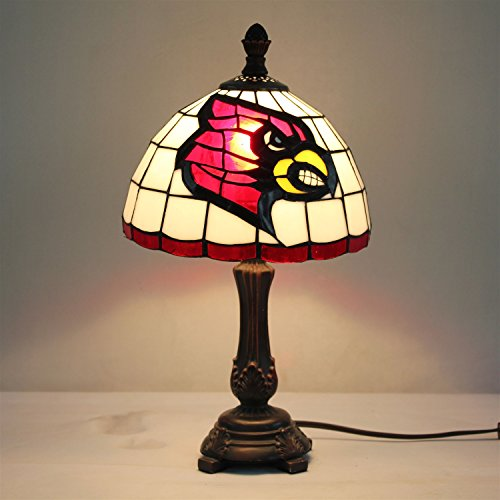Gweat 9-inch NCAA Louisville Cardinals Stained Glass Table - Table Glass Lamp Louisville