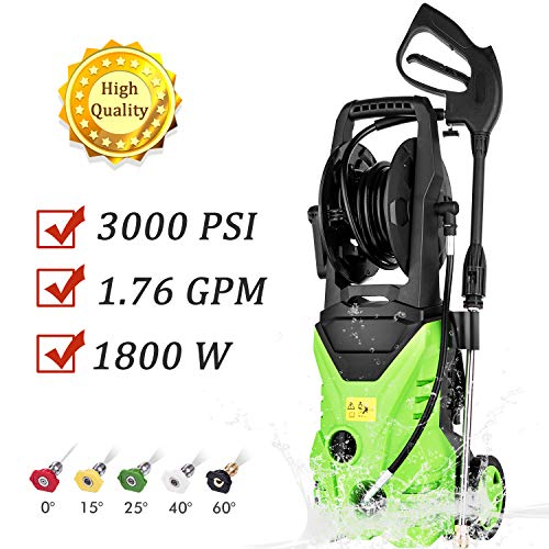 PaPafix Electric Pressure Washer, 3000 PSI 1.76 GPM Electric Power Washer, with 5 Quick-Connect Spray and Rolling Wheels + Total Stop System