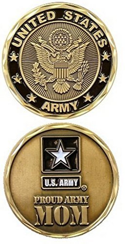 United States Military US Armed Forces Army Proud Mom - Good Luck Double Sided Collectible Challenge Pewter Coin