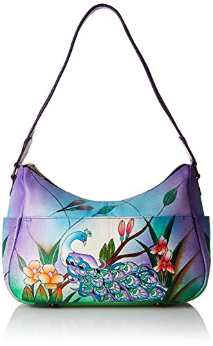 Anna by Anuschka Women's Genuine Leather Twin Zip-Top Small Hobo | Medium Multi-Pocket Shoulder Bag | Midnight Peacock