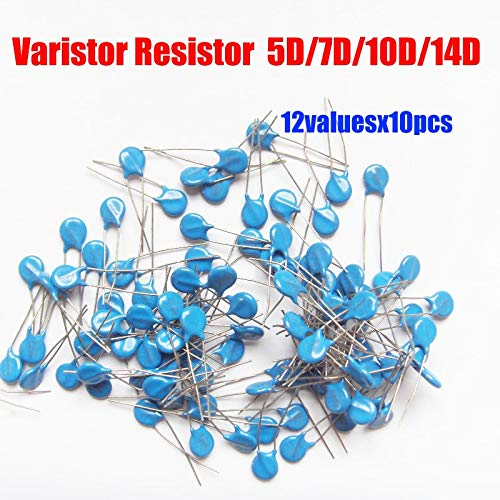 MAO YEYE 12valuesX10pc=120pcs 5D/7D/10D/14D Voltage Dependent Resistor Kit Varistor Resistor Pack