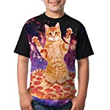 Kitten Pizza Child Summer T-Shirt 3D Printed Tee Black Top Medium