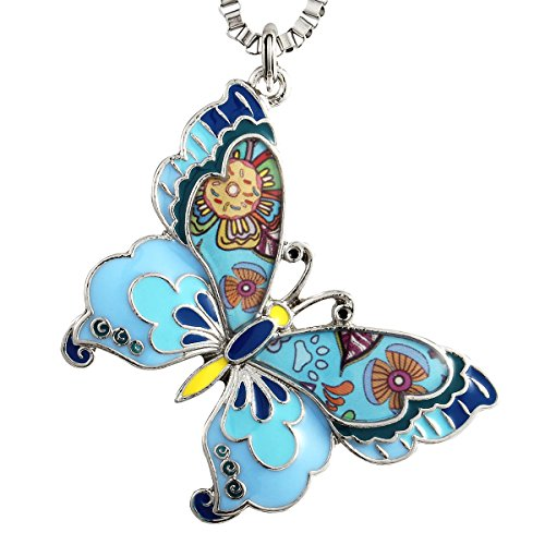 Luckeyui Blue Large Butterfly Pendant Necklaces for Women Unique Insect Charm Jewelry - Unique Charm Pendant