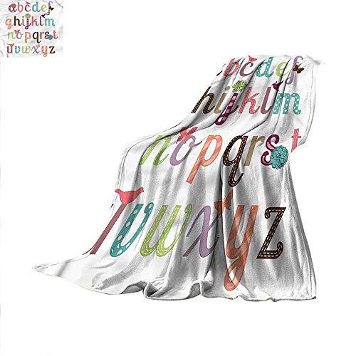 (Letters Super Soft Lightweight Blanket Girly Feminine Alphabet Oversized Travel Throw Cover Blanket)