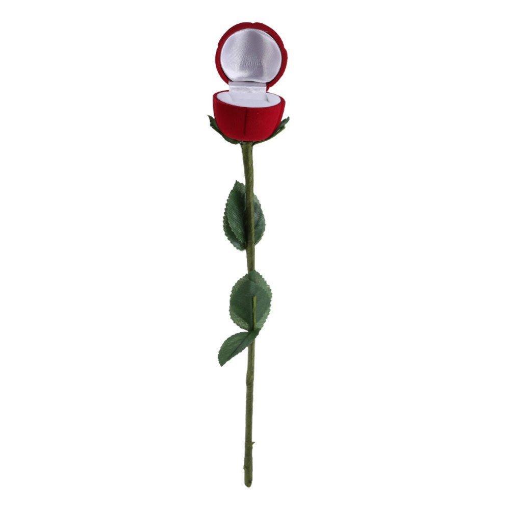 Veewon 1pcs Novelty Red Rose Flower Velvet Rings Jewellery Display Box Valentines Day Gift Box Wedding Ring Case