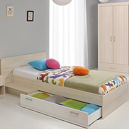 Jugendbett 90*200 cm inkl Bettkasten akazie grau / weiß Jugendliege  Kinderbett Bettliege Bett Bettgestell Jugendzimmer Kinderzimmer