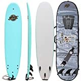 Soft Top Surfboard + Bag Package - Best Foam Surf Board for Beginners, Kids, and Adults - Soft Top Surfboards for Fun & Easy Surfing - 7' Ruccus, 8' Verve & 8'8 Heritage Surfboards All Wax-Free
