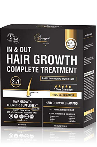 Anava Hair Growth Shampoo & Vitamins Complex - All Natural Treatment to Prevent Hair Loss - Hair Growth Products for Women & Men - Effective Shampoo 10 Oz & Supplement 60 Pills for Faster Hair Growth