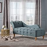 Antonina Plush Tufted Traditional Chaise Lounge (Blue Grey Fabric)