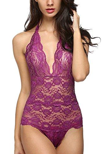 Avidlove Women Halter Lingerie One Piece Lace Jumpsuit Mini Babydoll Purple M