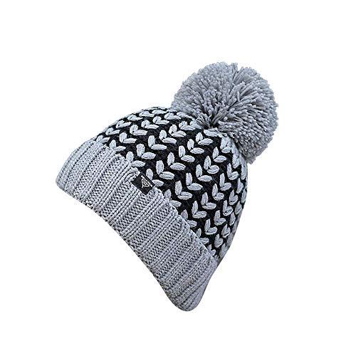 Adult Women Men Winter Crochet Hat Knit Hat Wheat Hairball Warm Cap,Women Fashion Scarves Outdoor Wear Gray