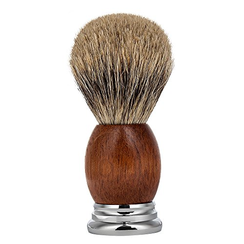 (CHARMMAN Best Badger Hair Bristles Shaving Brush, Premium Natural Red Pear Wood Handle+Heavy Duty Alloy Base, Deluxe Package )