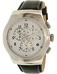 Swatch Men's Chrono YOS451 Black Leather Swiss Quartz Watch