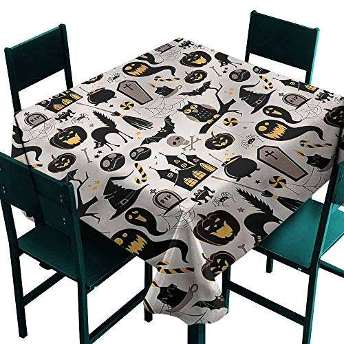 DONEECKL Dust-Proof Tablecloth Vintage Halloween Tombstone Skulls Table Decoration W36 xL36 -