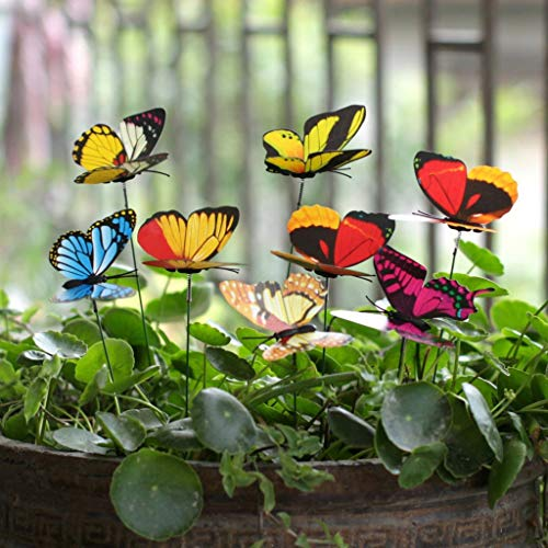 (m·kvfa 25Pcs Butterfly Stakes Outdoor Yard Planter Flower Pot Bed Garden Decor Butterflies Christmas Decorations for Lawn Yard Path Walkway)