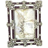 Rhinestone Clear Jeweled Silver Pewter Purple Enamel 4 x 6 Picture Frame