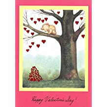 Bear Hanging Hearts From Tree Mary C Melcher Cute Valentine's Day Card