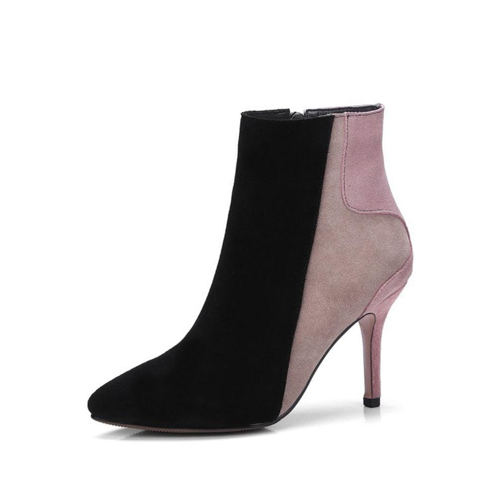 CYMIU Damen Fein Hochhackigen Martin Stiefel Design Stiletto Herbst Und Winter Kurze Stiefel Nähte MultiFarbe Spitzschuh Schuhe Größe