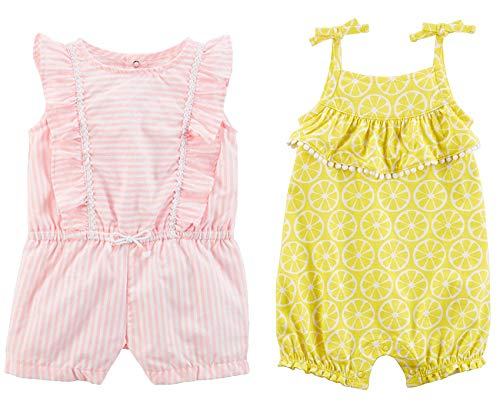 - Carter's Baby Girl's 2 Pack Cotton Romper Creeper Set (Pink Stripe/Lemon, 6 Months)