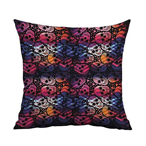 FreeKite Halloween Silky Pillowcase Mexican Sugar Skulls Stylized Digital Polygonal Geometric All Saint Day Display Super Soft and Luxurious Pillowcase W16 x L16 Inch Multicolor ()
