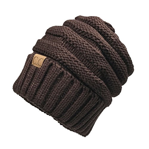 d57dc638c05 Unisex Winter Knitted Wool Cap Women Men Folds Casual CC labeling Beanies  Hat Solid Color Hip-Hop Beanie Hat Gorros  Amazon.in  Clothing   Accessories