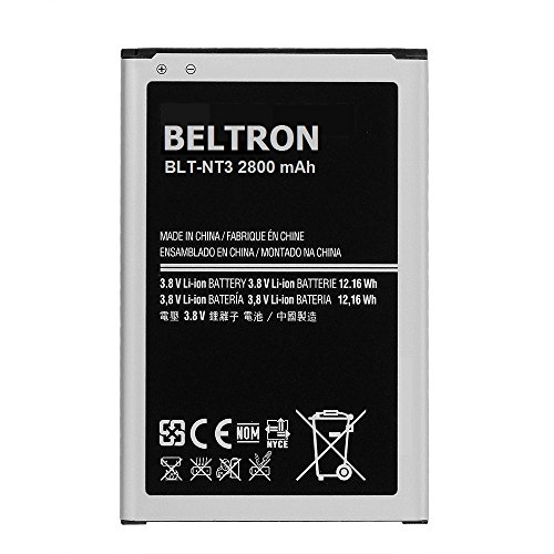 BELTRON New 3200 mAh Beltron Replacement Battery for Samsung Galaxy Note 3 III, (SM-N900 AT&T Sprint T-Mobile US Cellular Verizon N9000 N9005) B800BE B800BU B800BZ - BELTRON PACKAGED