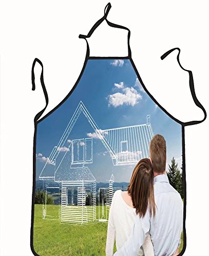 chanrancase tailored apron loving young couple looking at dream house Children, unisex kitchen apron, adjustable neck for barbecue 17.7x26.6+10.2(neck) - Looking Men Women For Manila