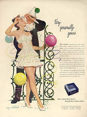 Very personally yours Kotex Napkins ad 1947 Coby Whitmore costume party L from The Jumping Frog