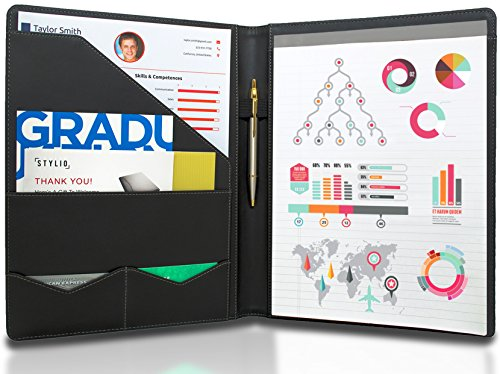 stylio padfolio resume portfolio folder interview legal document organizer business card holder with letter sized writing pad handsome piano noir
