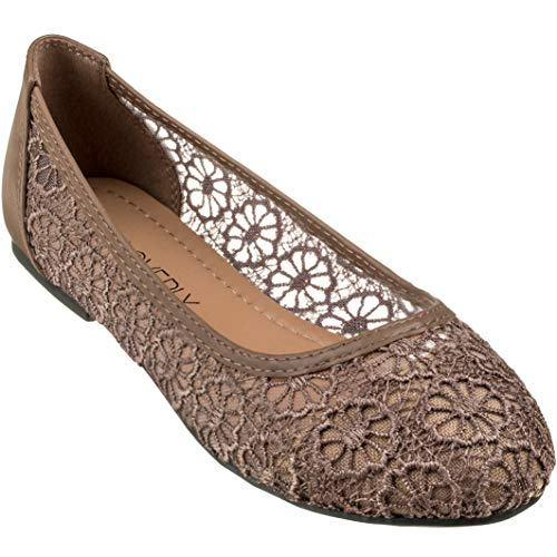 CLOVERLY Women's Ballet Shoe Floral Breathable Crochet Lace Ballet Flats (8.5 M US, Tan)