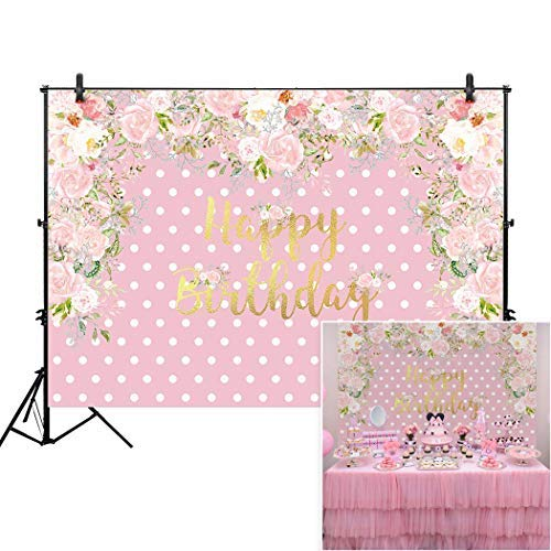Allenjoy 7x5ft Pink Polka Dot Floral Girl's Party Backdrop for Cake Smash Studio Photography 1st First Birthday Flower Candy Sweet Table Decoration Home Decor Baby Shower Background Photo Booth Props -