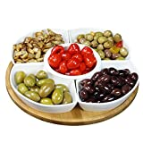 "Elama Signature 6 Piece Lazy Susan Appetizer and Condiment Server Set with 5 Serving Dishes and a Bamboo Lazy Suzan Serving Tray, 12.5"" L"