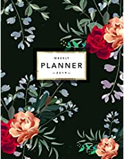 Weekly Planner 2019: Floral Planner | 2019 Organizer with Bonus Dotted Grid Pages, Inspirational Quotes + To-Do Lists | Beautiful Rose Pattern