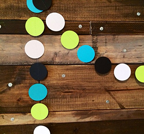 Turquoise, Black, White and Lime Green Paper Garland
