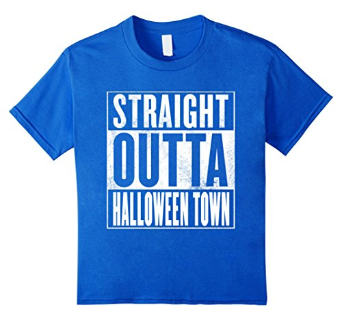 Kids Halloween Town T-Shirt - STRAIGHT OUTTA HALLOWEEN TOWN Shirt 6 Royal Blue -