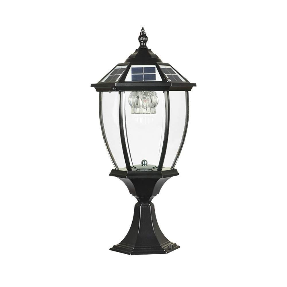 Abgail Continental Outdoor Glass Solar Column Lamp Villa Exterior Artisans Post Lamp Pilar Del Parlamento L/ámpara De Pared A Prueba De Herrumbre L/ámpara De Pilar De Metal De Aluminio A Prueba De Herru