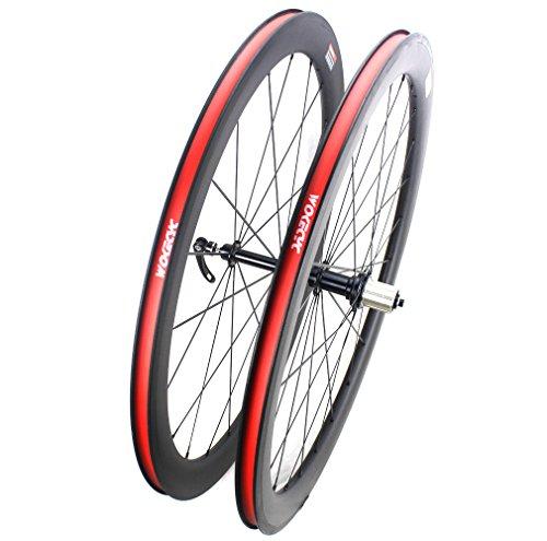 Road Bike Wheel set 50mm Clincher Carbon Fiber Matte 25mm Width For Shimano or Sram 10/11 Speed 700C Wheels by WOKECYC (Image #3)