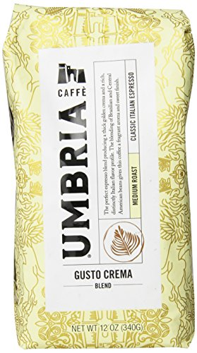 Caffe Umbria Fresh Seattle Whole Bean Roasted Coffee, Gusto Crema Blend Medium Roast, 12 oz. Bag
