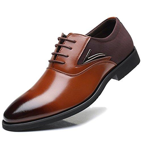 MERRYHE Pizzo Di Cuoio Di Microfiber Di Oxford Della Punta Di Grandi Dimensioni Degli Uomini Aumenta Le Scarpe Convenzionali Del Vestito Da Festa Delle Scarpe Di Vestito Da Lavoro Brown