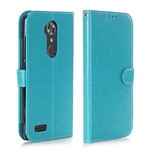 ZTE Max XL Case, ZTE ZMAX Pro Case, ZTE ZMAX Pro Wallet Case, Alkax Kickstand Wallet Phone Case Shockproof Hybrid Girls Men with Stand Card Slot Protective Flip Cover For ZTE Z981 / ZTE N9560 (Blue)