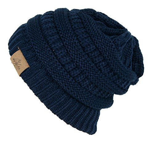 Winter Warm Thick Cable Knit Slouchy Skull Beanie Cap Hat (NAVY (Blue Knit Beanie Cap Hat)
