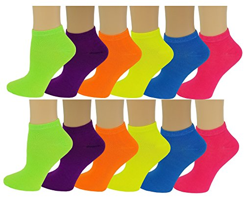 Differenttouch 12 Pairs Pack Women Low Cut Colorful Fancy Design Ankle Socks (9-11, Neon)