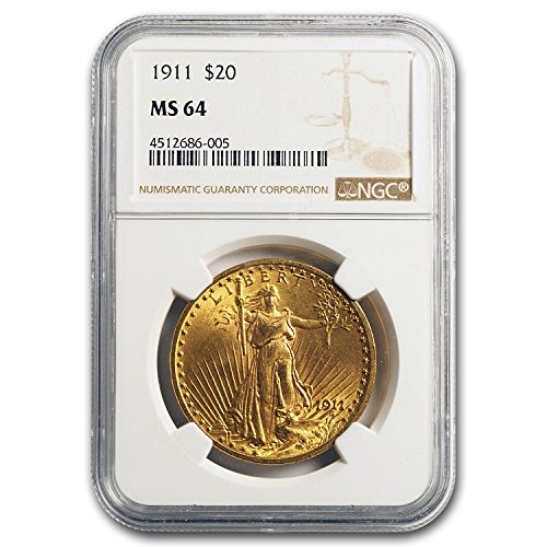 1911 $20 St. Gaudens Gold Double Eagle MS-64 NGC G$20 MS-64 NGC