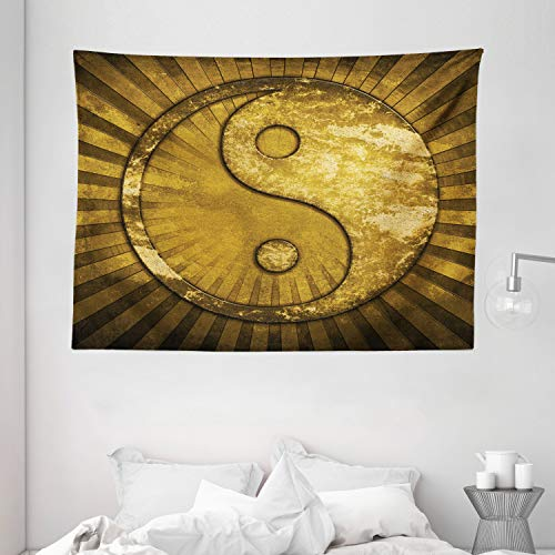 """Ambesonne Ying Yang Tapestry, Industrial Eastern YingYang on top of Sunburst Technological Pattern, Wide Wall Hanging for Bedroom Living Room Dorm, 80"""" X 60"""", Pale Brown"""
