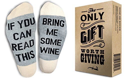 TheOnly Wine Gift Wine Socks - and Gift Box''If you can read this bring me some wine'' Perfect Christmas Gift for Wine Lovers, Birthdays, White Elephant, Mother Gift, Wife or Best Friend Wine Socks by The Only Gift Worth Giving (Image #1)