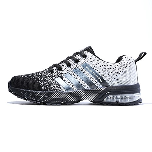 XIDISO Running Shoes Womens Athletic Tennis Shoe Breathable Air Cushion Women's Sneakers Sport Cross Training Size 6 Black/White (Best Cross Training Sneakers)