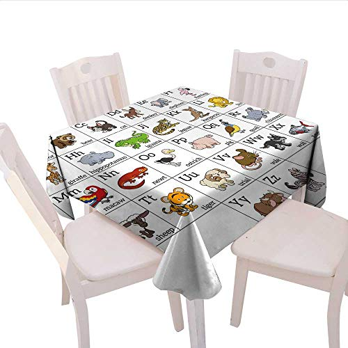Home-textile-print Educational Dinner Picnic Table Cloth Alphabet Learning Chart with Cartoon Animals Names Letters Upper and Lowercase Waterproof Table Cover for Kitchen 60x60 (inch) Multicolor