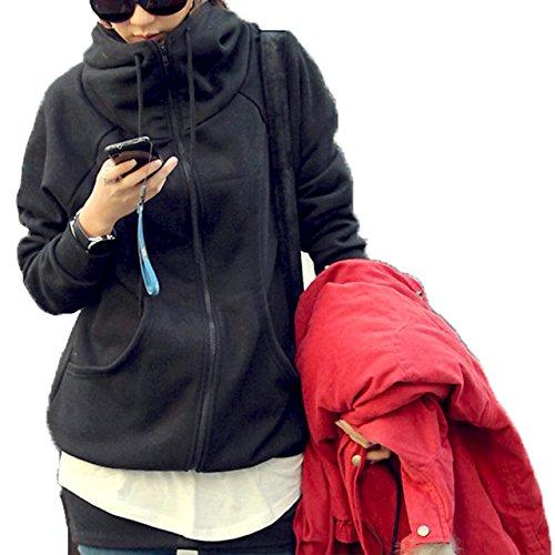リゾートカタログポンペイ[ココチエ] レディース パーカー シンプル ジップアップ 綿 フード かっこいい 長袖 おしゃれ カジュアル M L XL グレー ブラック