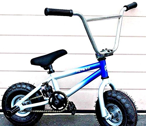 R4 Pro Complete Mini BMX Stunt Bicycle, Blue And Silver W/Pegs -  R4two tone